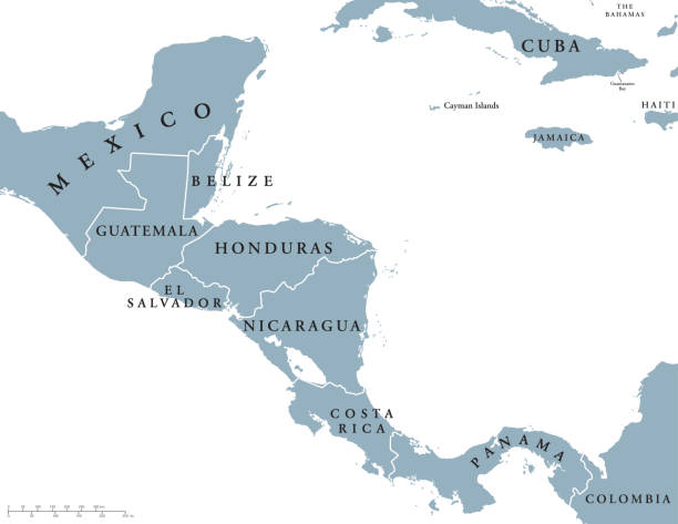 Central America countries political map Central America countries political map with national borders, from Mexico to Colombia, connecting North and South America, Caribbean Sea to the east and Pacific Ocean to the west. English labeling. central america stock illustrations