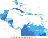 Central America - map and navigation icons - illustration