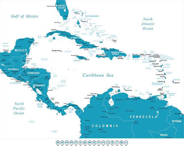 bildbanksillustrationer, clip art samt tecknat material och ikoner med central america - map and navigation labels - illustration - saint lucia