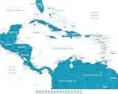 Central America - map and navigation labels - illustration