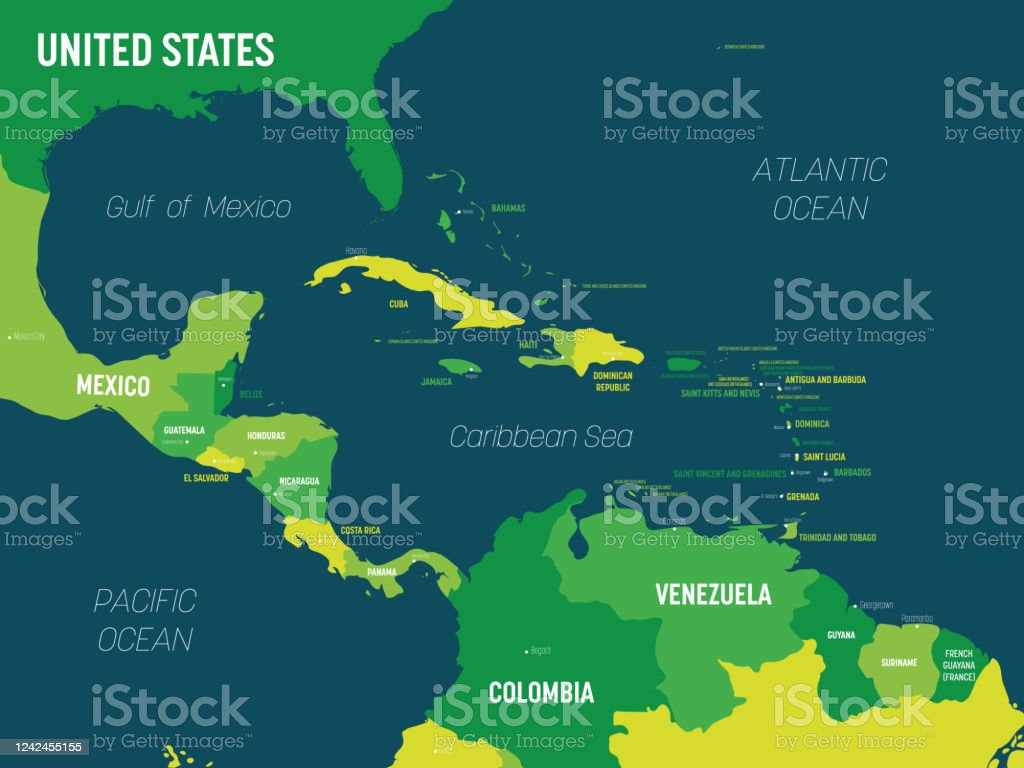 Picture of: Central America Map Green Hue Colored On Dark Background High Detailed Political Map Central American And Caribbean Region With Country Capital Ocean And Sea Names Labeling Stock Illustration Download Image Now