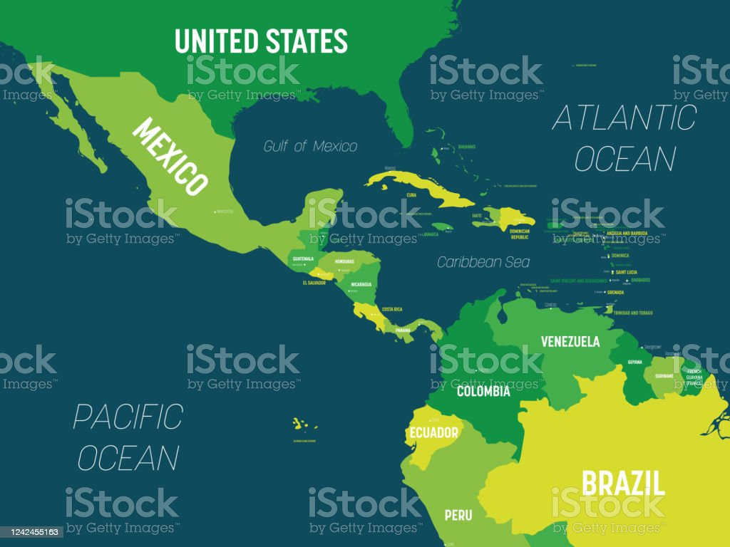Central America Map Green Hue Colored On Dark Background High Detailed Political Map Central American And Caribbean Region With Country Capital Ocean And Sea Names Labeling Stock Illustration Download Image Now