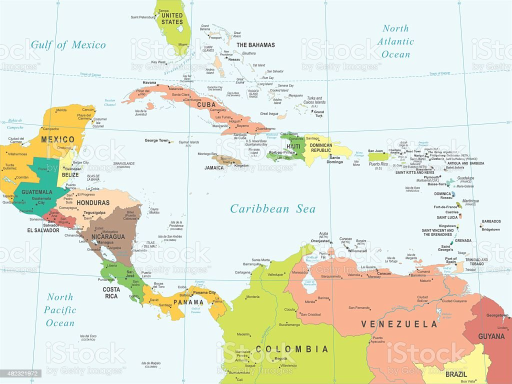 Central America - map - illustration vector art illustration