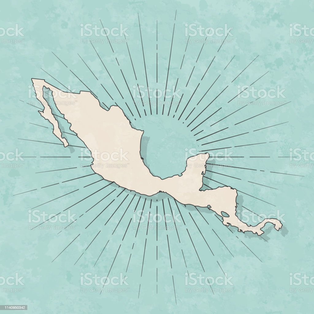 Map of Central America in a trendy vintage style. Beautiful retro...
