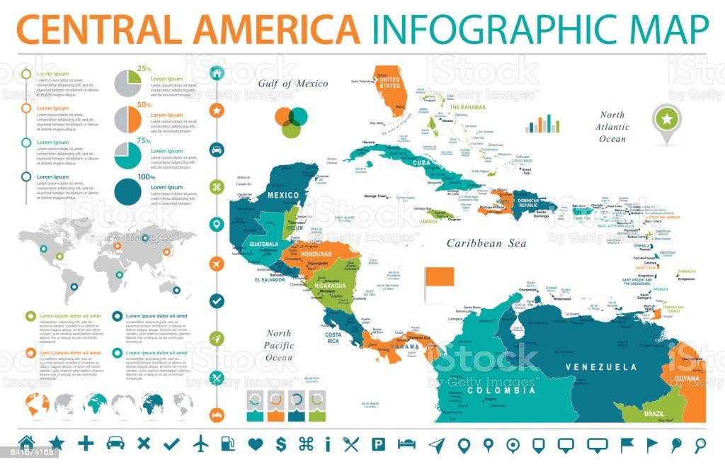 Central America Map Info Graphic Vector Illustration stock vector