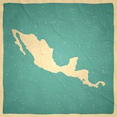 Central America Map on old paper - vintage texture
