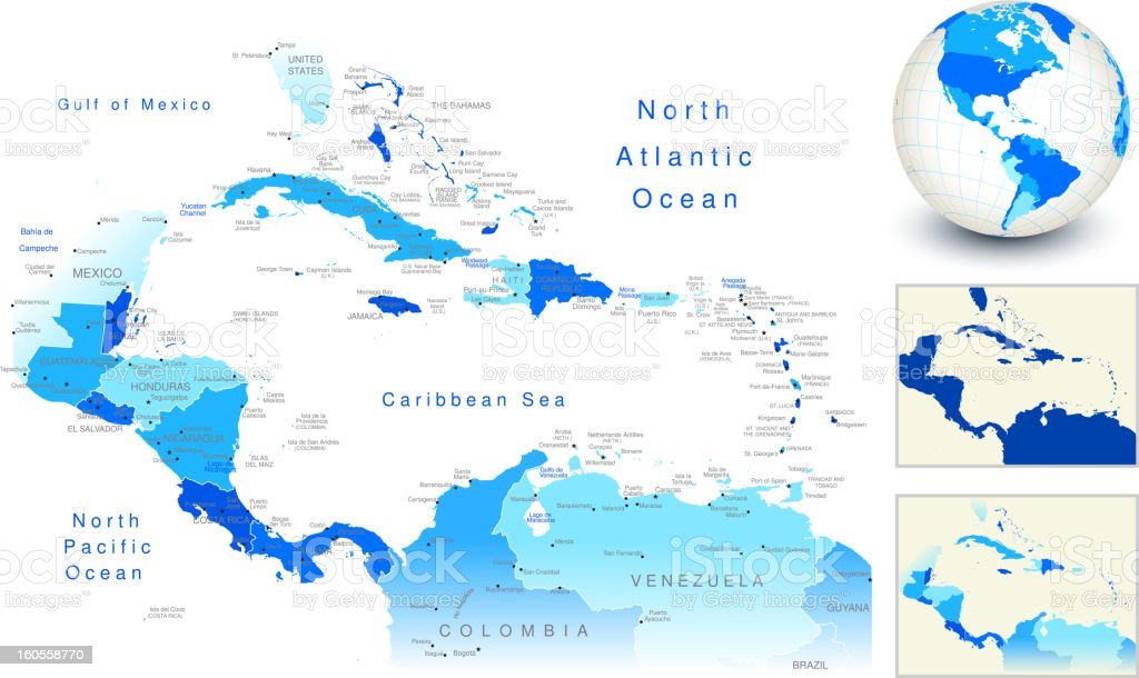 Central America Map with blue globe and country outlines vector art illustration