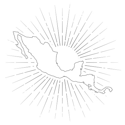 Central America map with sunbeams on white background