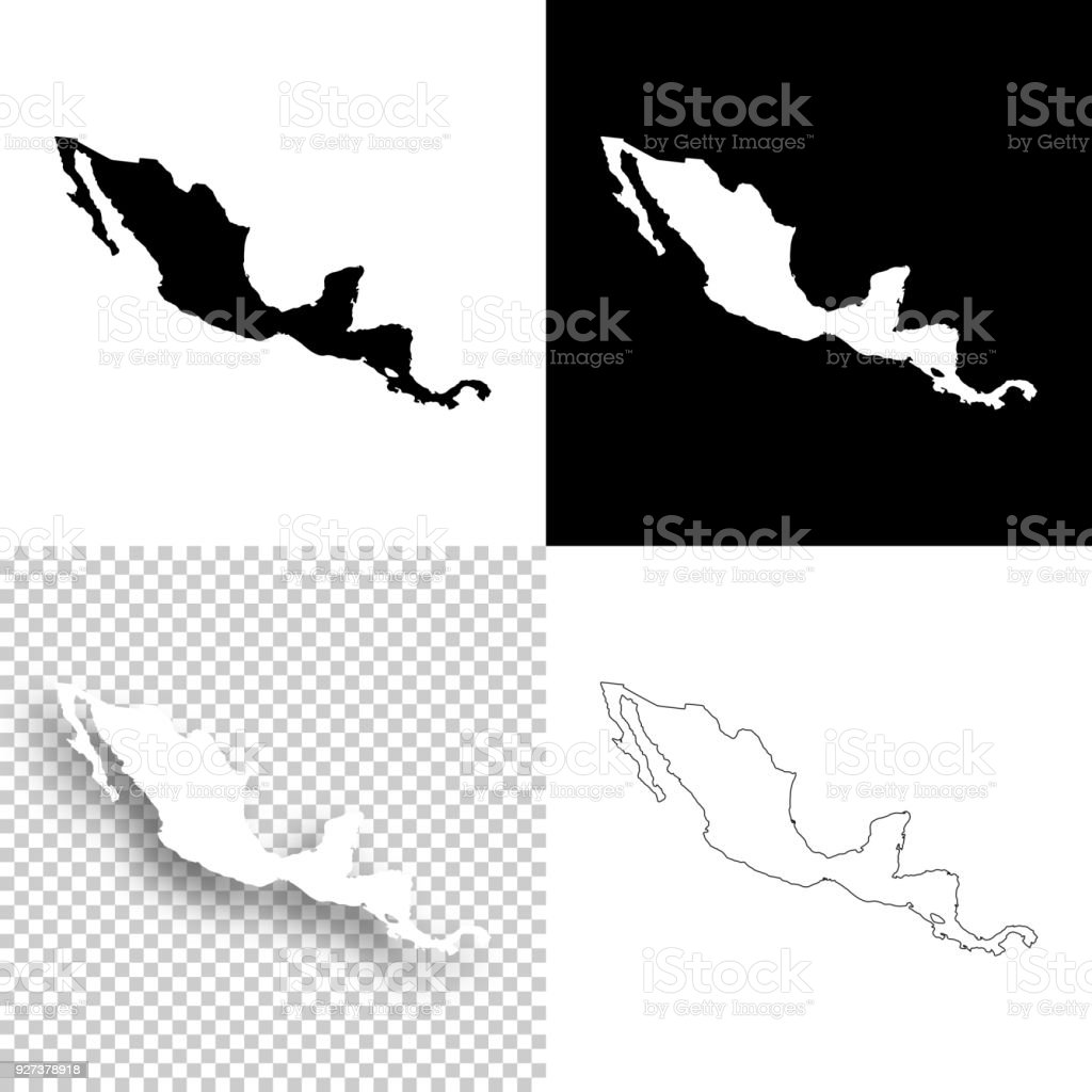 Central America Maps For Design Blank White And Black Backgrounds