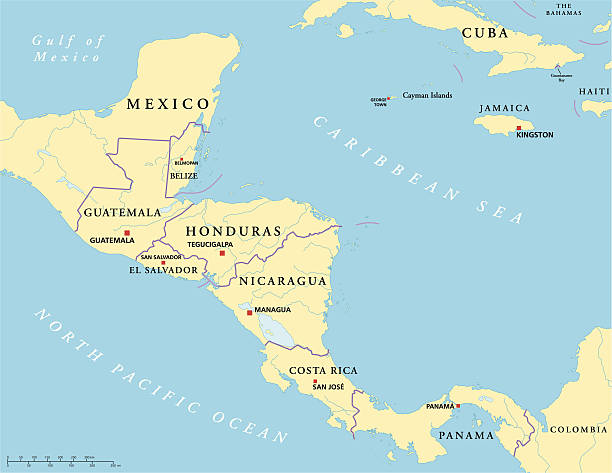 Central America Political Map Political map of Central America with capitals, national borders, rivers and lakes. Vector illustration with English labeling and scaling. honduras stock illustrations