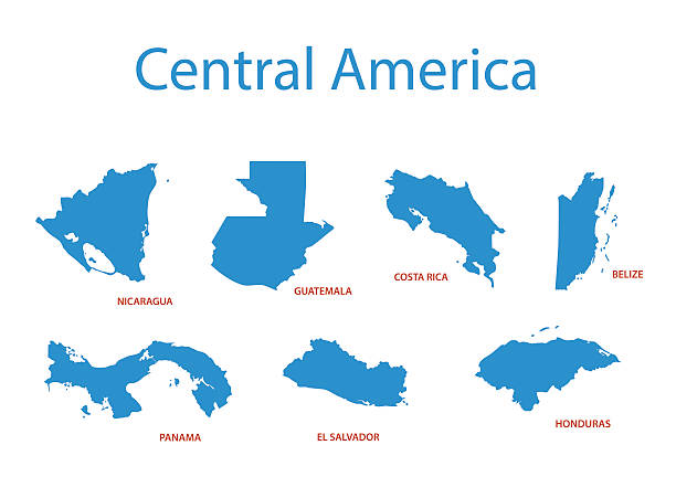 central america - vector maps of territories central america - vector maps of territories central america stock illustrations