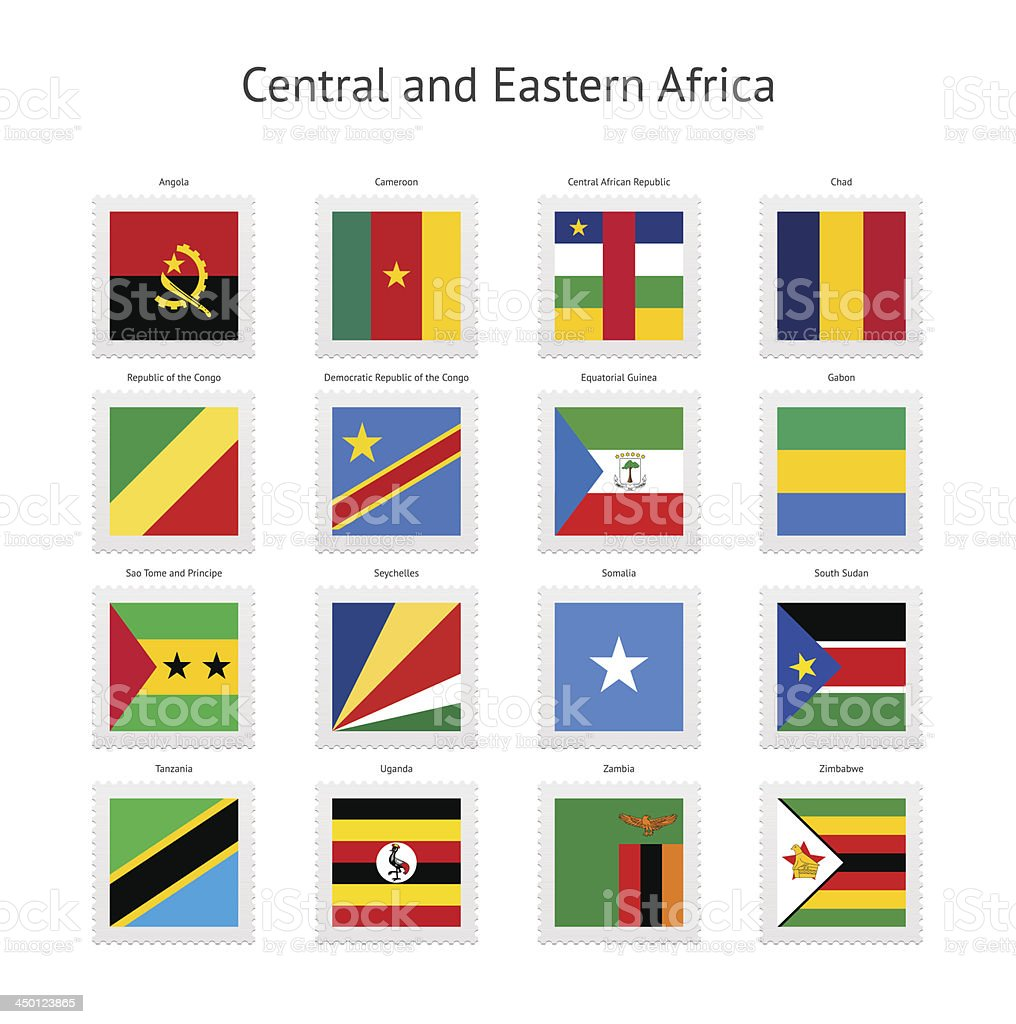Central and Eastern Africa Postage Stamp Flags Collection royalty-free stock vector art