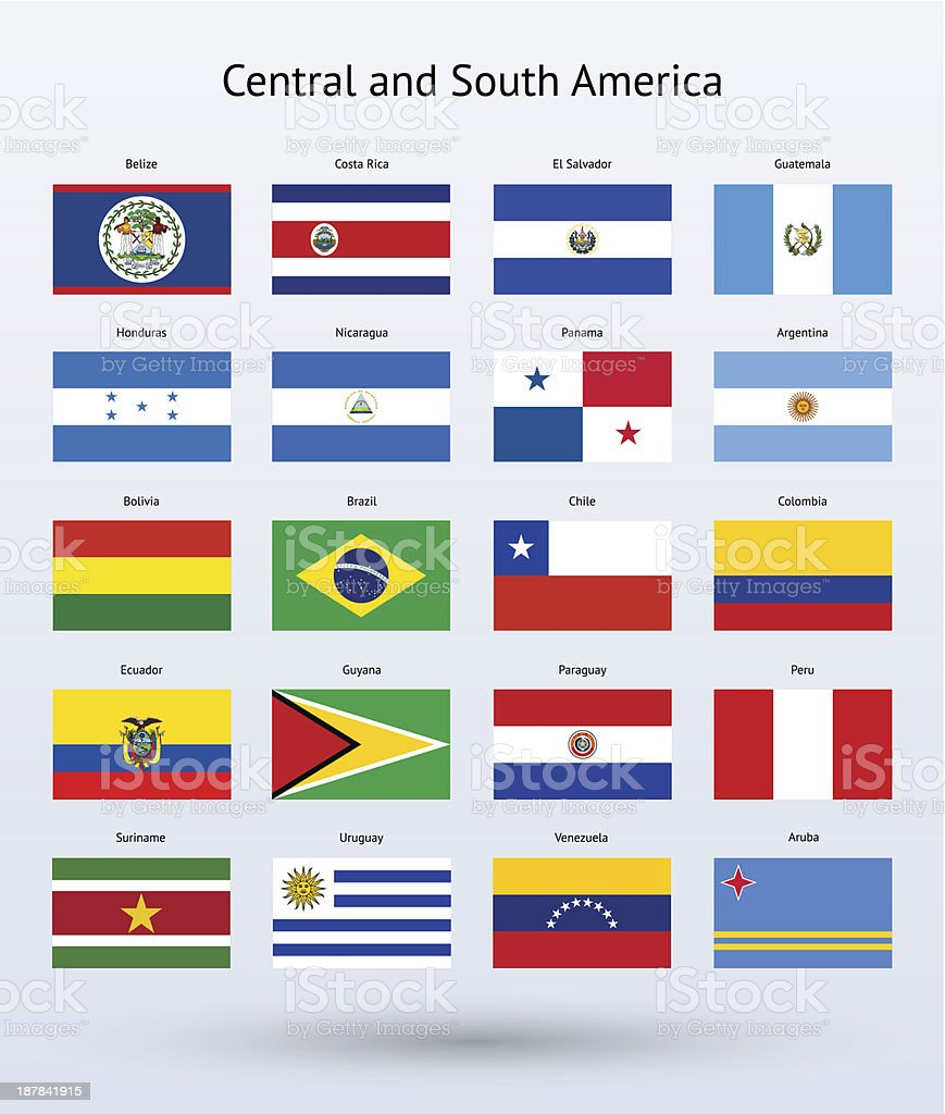 Central and South America Flags Collection vector art illustration