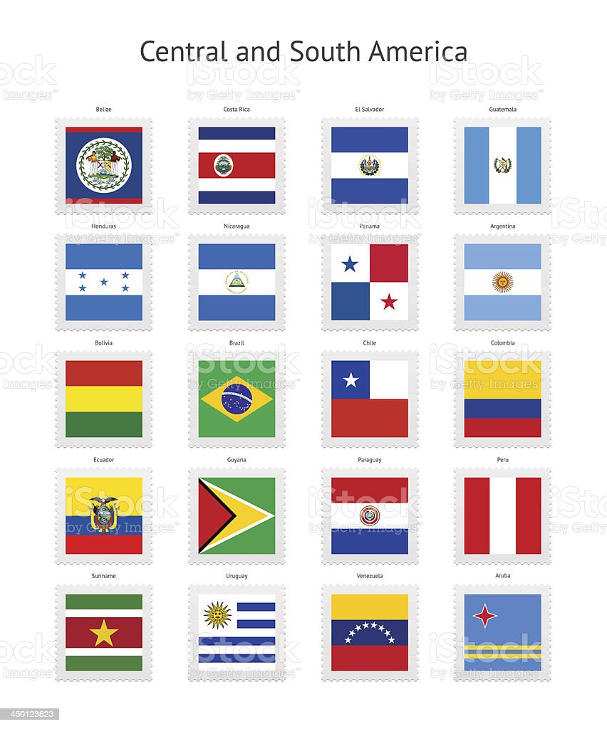 América Central e do Sul selo Flags Collection - ilustração de arte em vetor