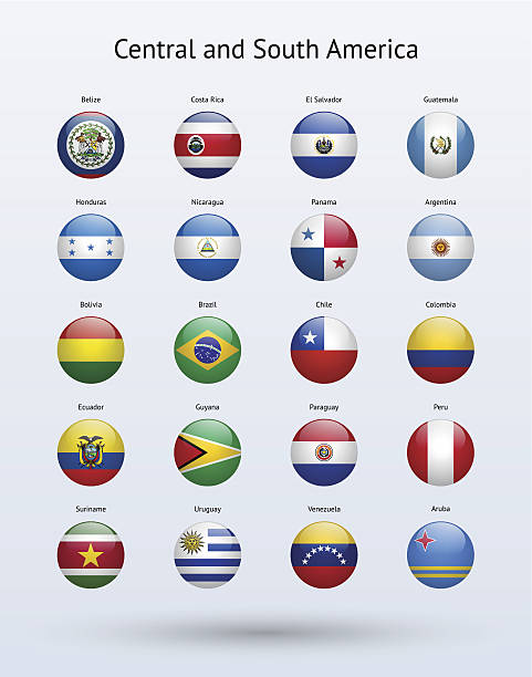 central and south america round flags collection - ecuador flag stock illustrations