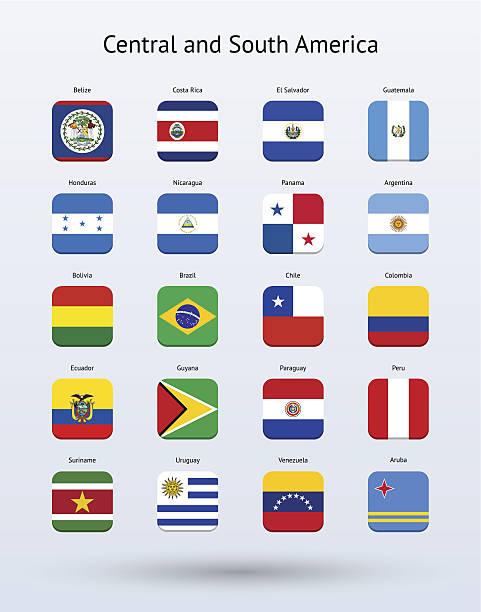central and south america square icons flags collection - ecuador flag stock illustrations