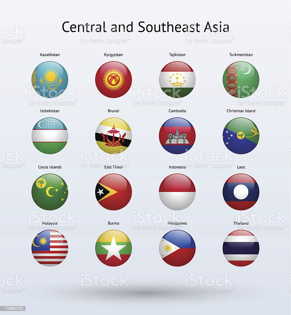 Central and Southeast Asia Round Flags Collection