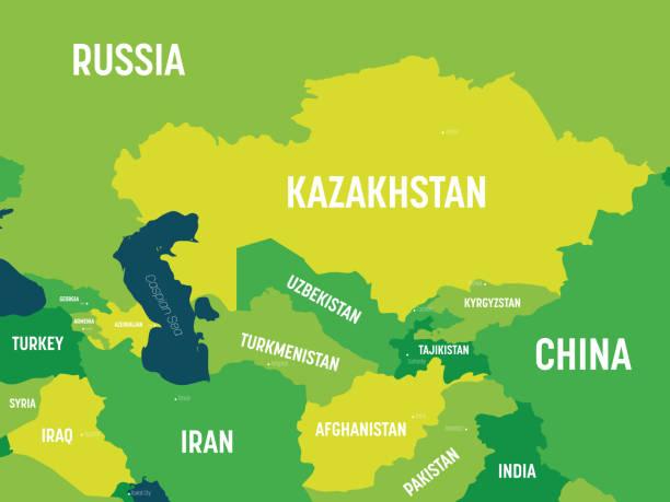 zentralasien karte - grüner farbton auf dunklem hintergrund gefärbt. hohe detaillierte politische karte der zentralasiatischen region mit länder-, hauptstadt-, ozean- und seenamen-kennzeichnung - kasachstan stock-grafiken, -clipart, -cartoons und -symbole