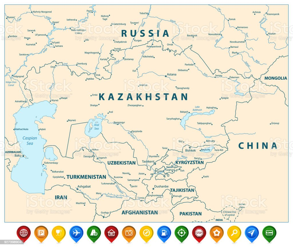 Central Asia Political Map And Colorful Map Pointers Stock Vector