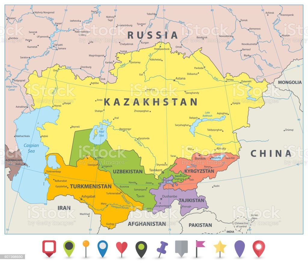 Central Asia Political Map And Flat Map Icons Stock ...