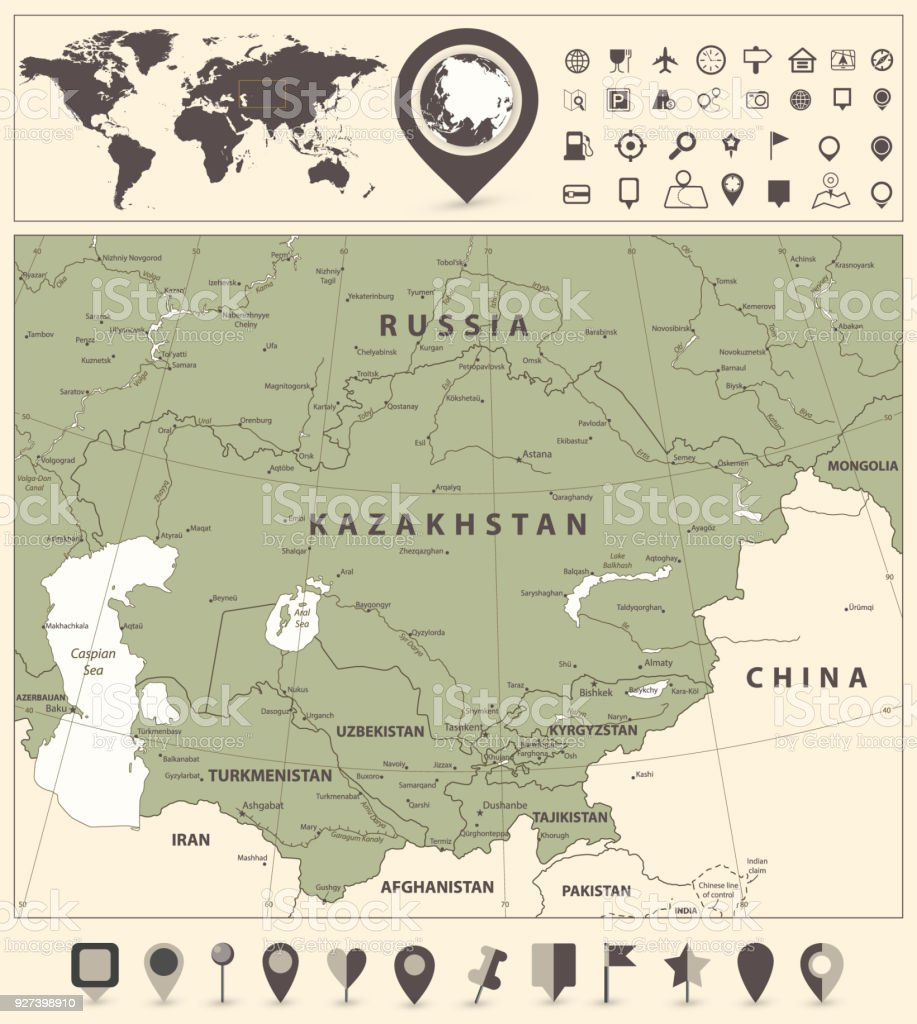 Political Map Of Central Asia.Central Asia Political Map And World Map With Navigation Icons Stock