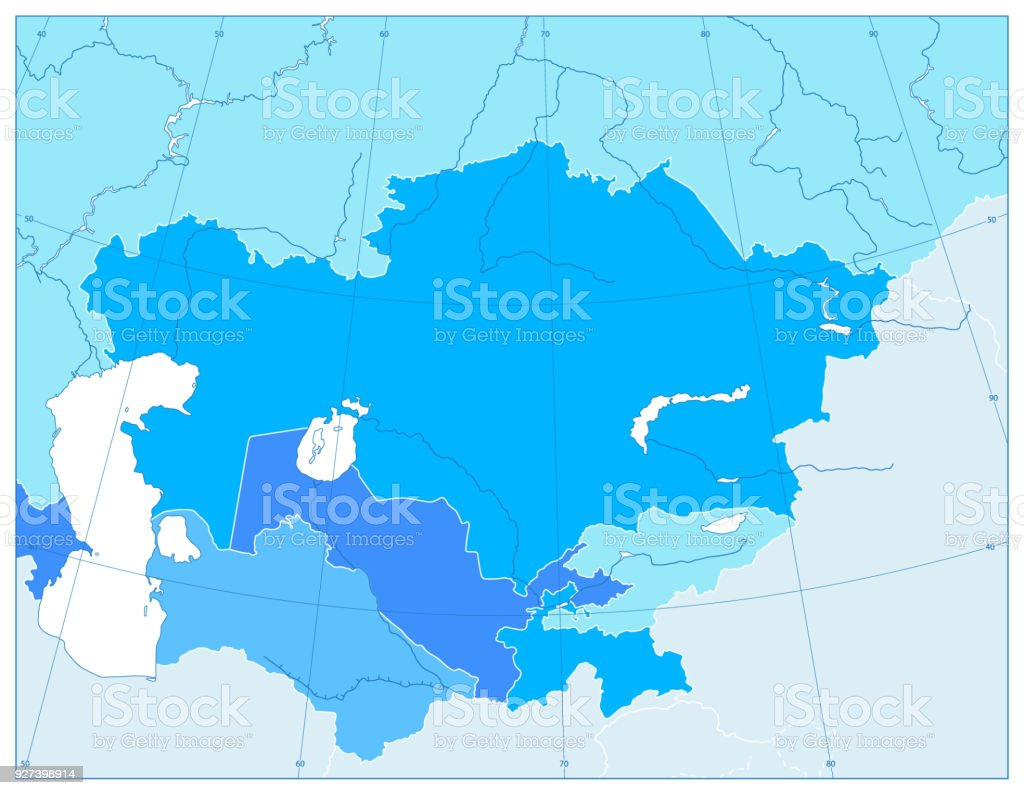 Central Asia Political Map In Colors Of Blue No Text Stock Vector