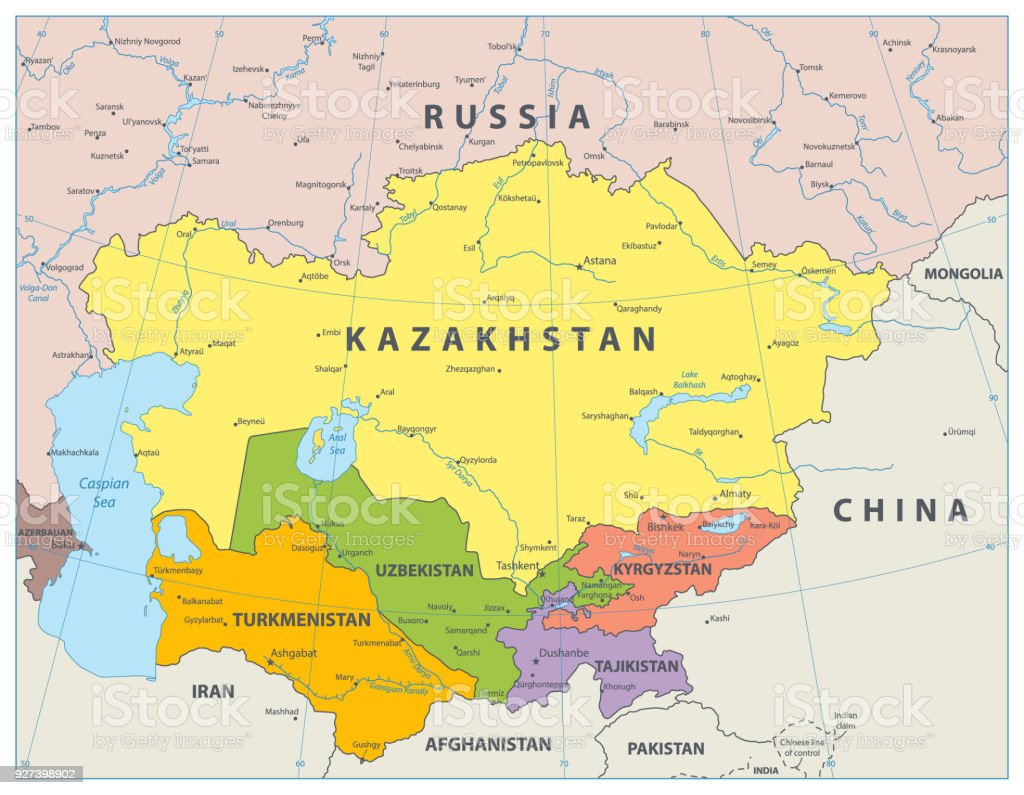 Central Asia Political Map Stock Illustration - Download Image Now ...