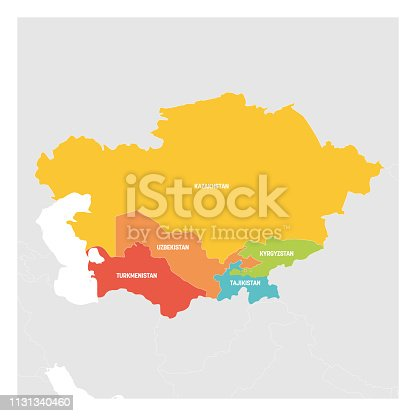 Central Asia Region. Colorful map of countries in central part of Asia. Vector illustration.