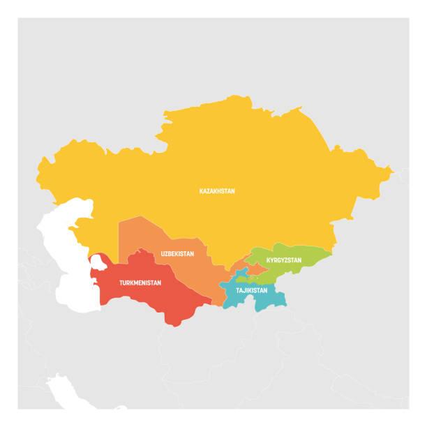 zentralasien. bunte karte der länder im zentralen teil asiens. vektorabbildung - kasachstan stock-grafiken, -clipart, -cartoons und -symbole