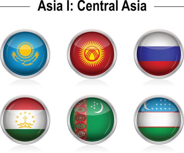 flaggen-asia 1: zentralasien - kasachstan stock-grafiken, -clipart, -cartoons und -symbole