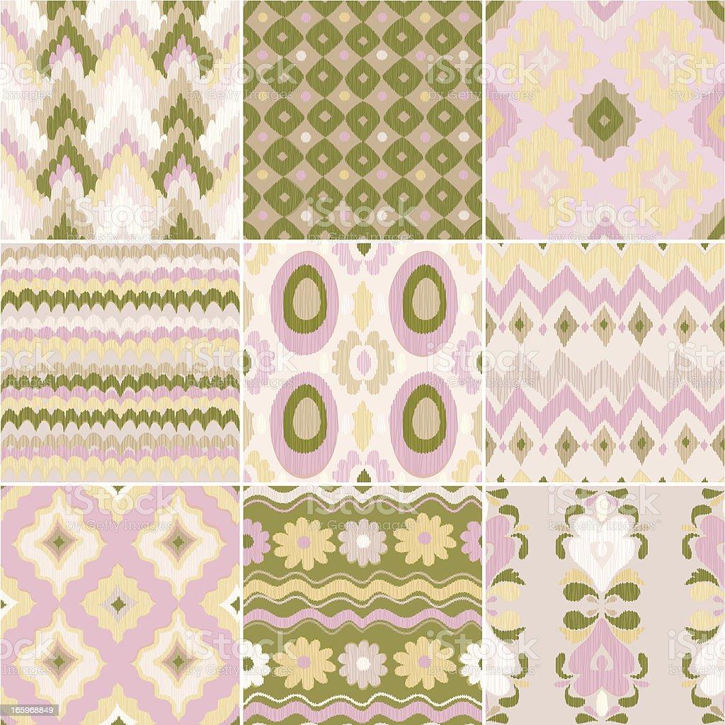 Central Asian Patterns (IKAT) vector art illustration