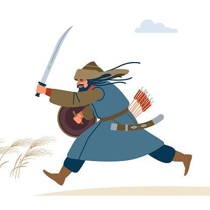Central Asian Warrior. Medieval battle illustration. Historical illustration. Isolated vector flat illustration.