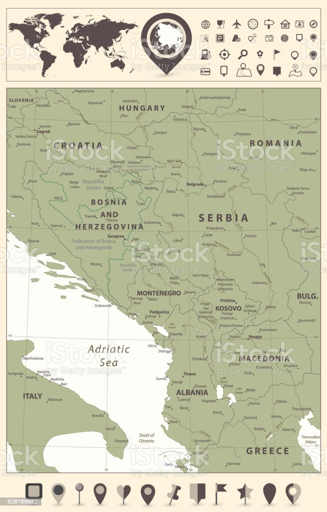 Navigation World Map.Central Balkan Region Map And World Map With Navigation Icons Stock