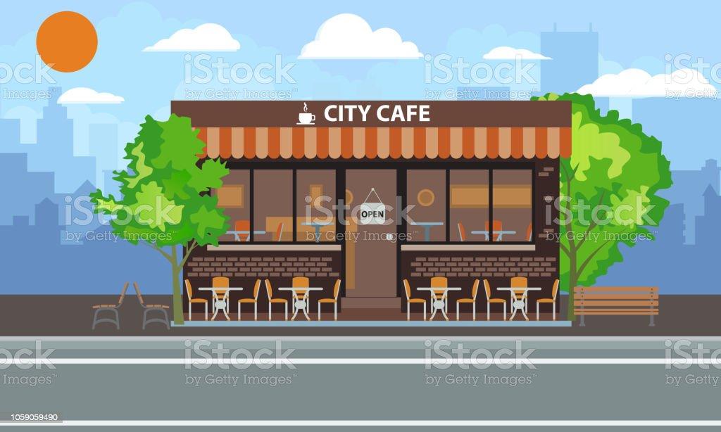 Ilustración De Café Central Edificio Exterior Con Terraza De