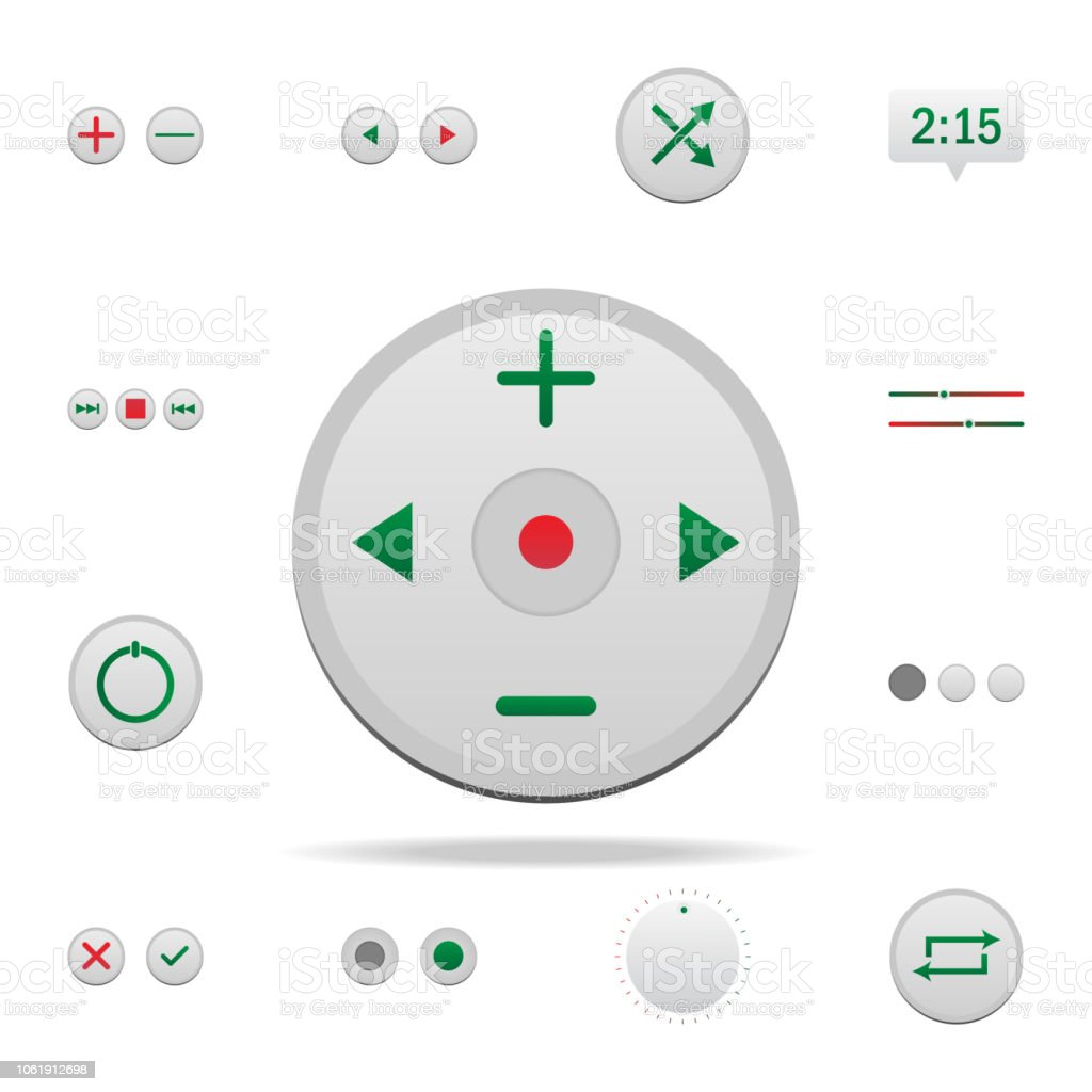 Central Control Button Colored Icon Elements Of Music Player