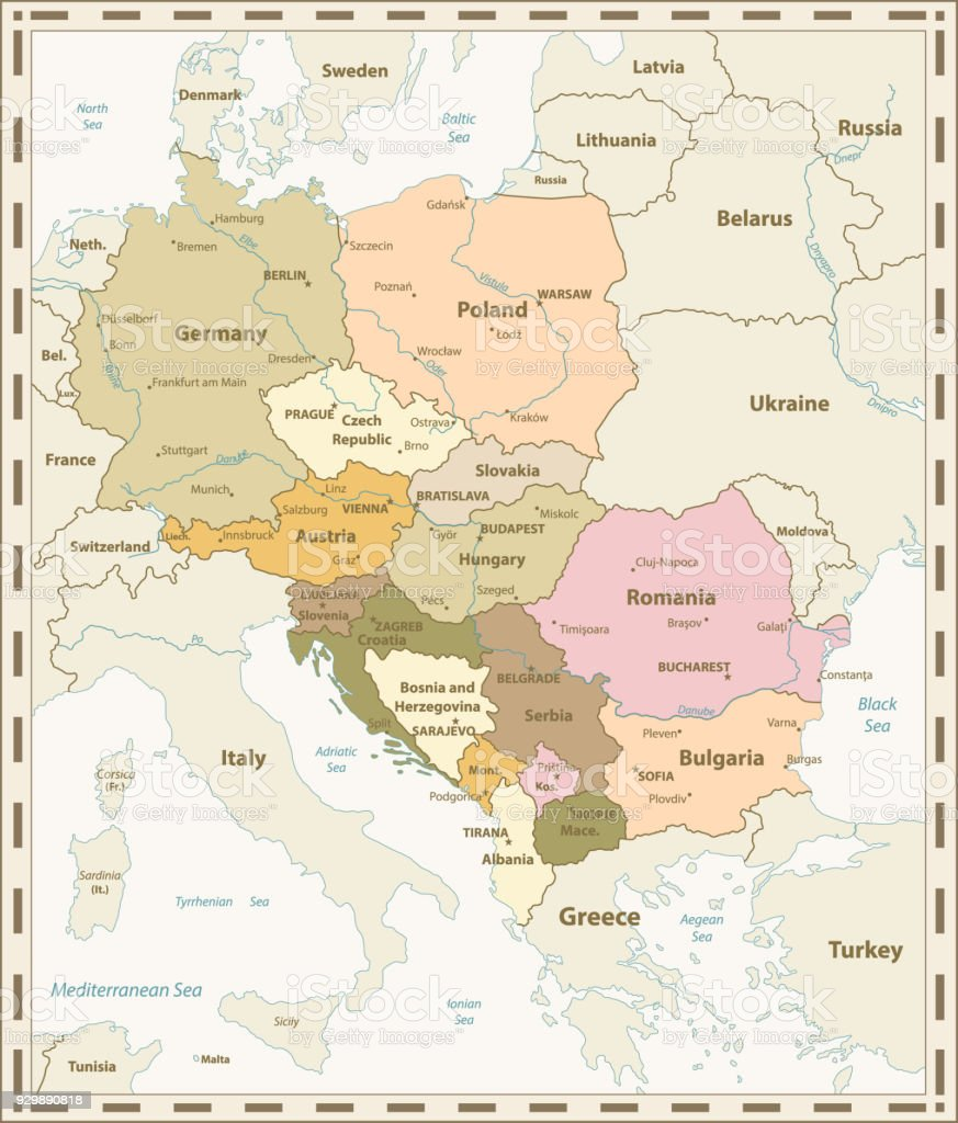 Central Europe Map Retro Colors Stock Vector Art More Images of