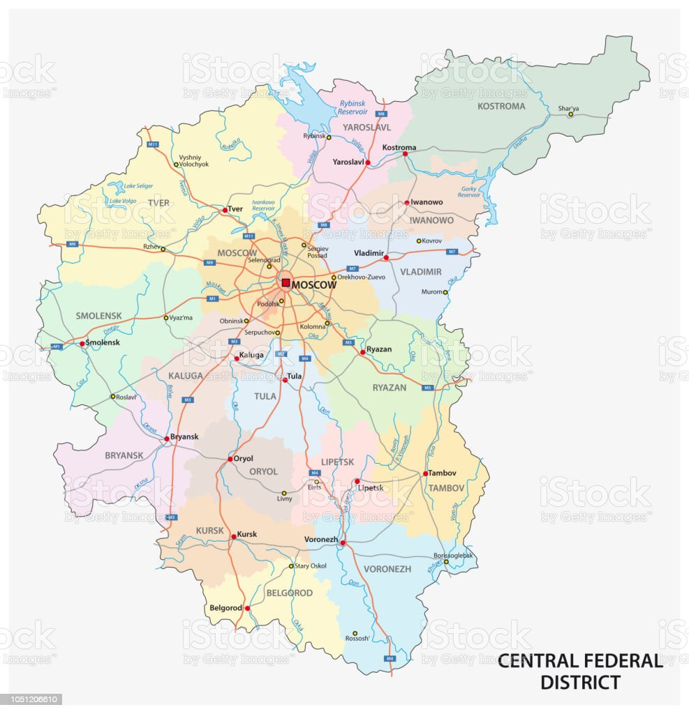 Central Federal District Road Administrative And Political Map ...