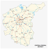 Central Federal District road vector map, Russia