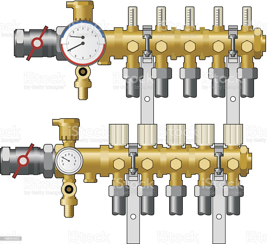 Central heating manifold and valves royalty-free stock vector art