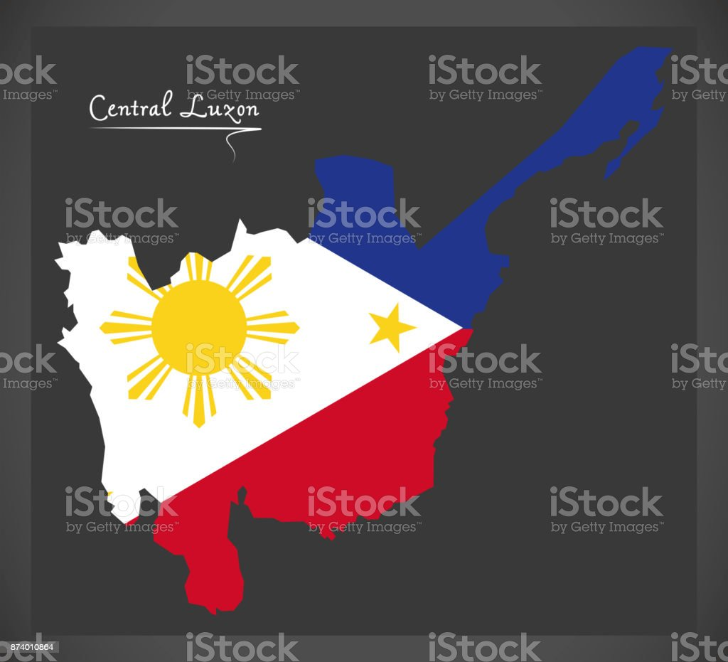 Central Luzon map of the Philippines with Philippine national flag illustration vector art illustration