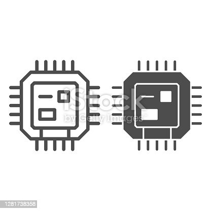 Central processing unit line and solid icon, Robotization concept, CPU sign on white background, Computer chip or microchip icon in outline style for mobile concept and web design. Vector graphics
