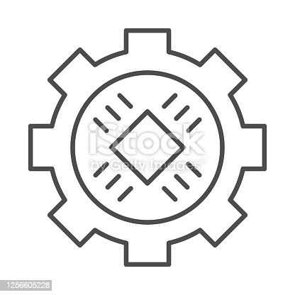 Central processor in gear thin line icon, Information technology concept, Microchip in cogwheel sign on white background, Gear with Chip Processor CPU in center icon in outline. Vector graphics