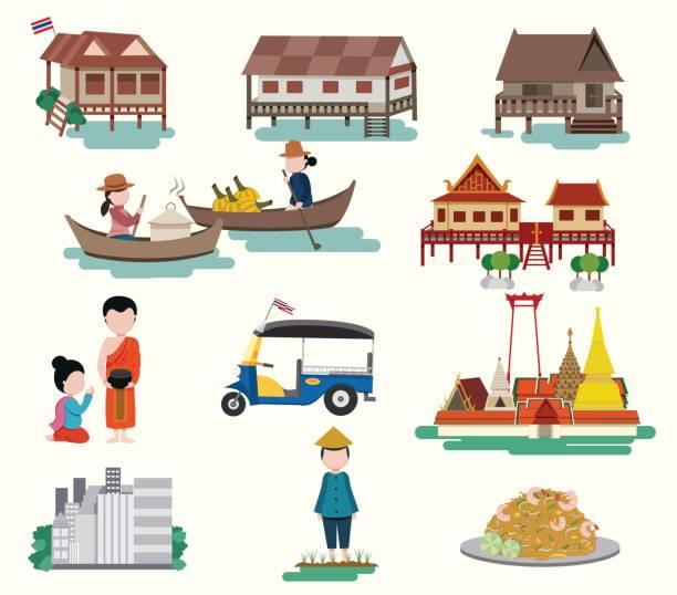 zentrale reisen in thailand - ayutthaya stock-grafiken, -clipart, -cartoons und -symbole