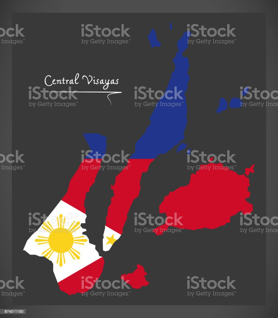 Central Visayas map of the Philippines with Philippine national flag illustration vector art illustration