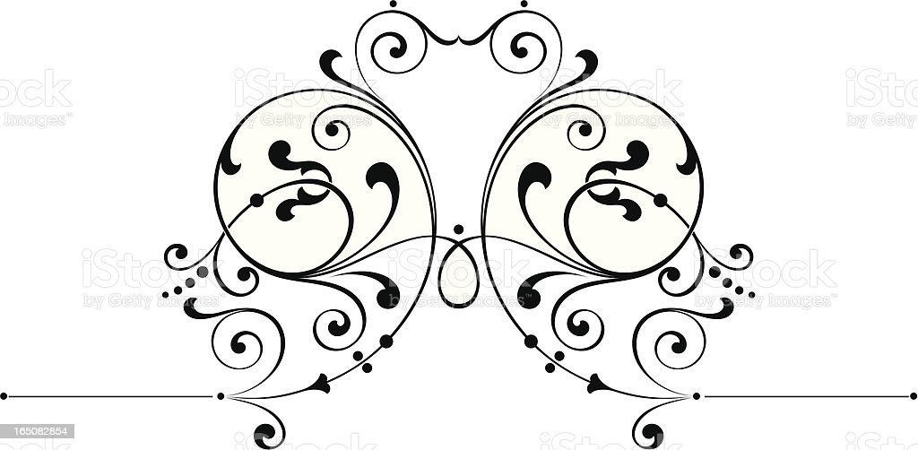 Centre Flourish Scroll vector art illustration