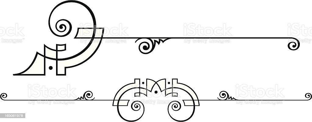 Centre Scroll and End Design vector art illustration