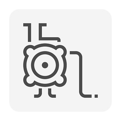 Centrifugal pump vector icon design for control, supply or distribution water. 48x48 pixel.