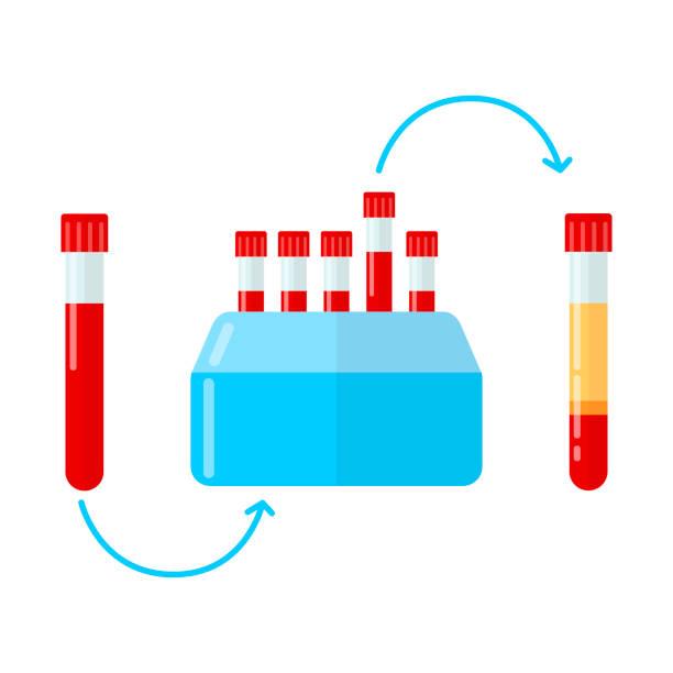 ilustrações de stock, clip art, desenhos animados e ícones de centrifuge for making plasma in dentistry, dermatology and mesotherapy. vector illustration in flat style. - enjoying wealthy life