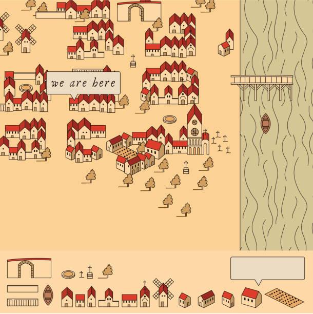 16. century map toolkit vector art illustration