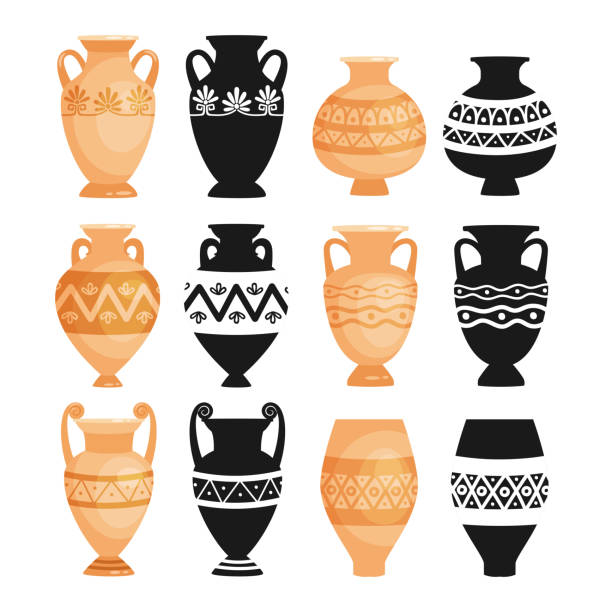 Ceramic ancient pottery objects vector art illustration